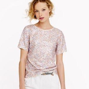 J. Crew Sequin Cluster 100% Cotton Top T Shirt S